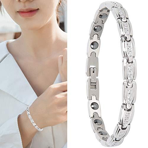 Magnetische Halskette, Elegante Gesundheitsarmbänder zur Schmerzlinderung Edelstahl Magnetarmband für Frauen Armreif Schmuck Arthritis Armband Gesundheit Armband Verlust Abnehmen Armband