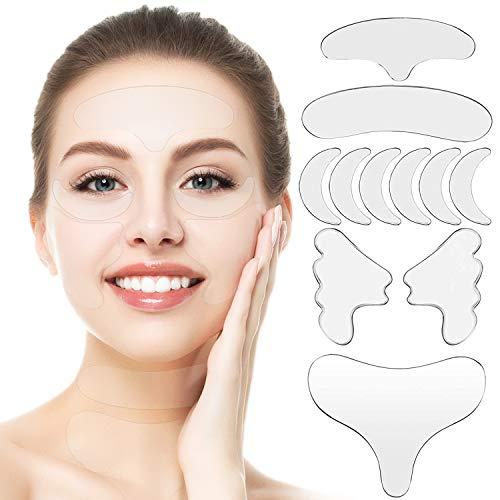 11PCS Gesichts Antifaltenpflaster, Anti Aging Gesichts, Anti-falten-pad, Wiederverwendbare Falten Entferner Pflaster, Reduzierung und Glättung von Falten um Stirn, Auge, Mund und Oberlippe