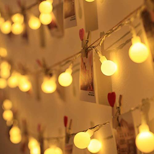 LED Kugel Lichterkette,6M 40LED Ball Lichterkette,LED Lichtervorhang Lichterkette,Warmweiß Weihnachten Lichterkette,Weihnachtsbaum Stimmungslichte,für Zimmer Party Garten DIY Deko