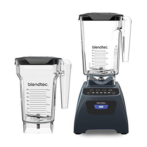 Blendtec Classic 575 Blender - WildSide+ Jar (90oz) and FourSide Jar (75 oz) BUNDLE - Professional-Grade Power - Self-Cleaning - 4 Pre-programmed Cycles - 5-Speeds - Slate Grey