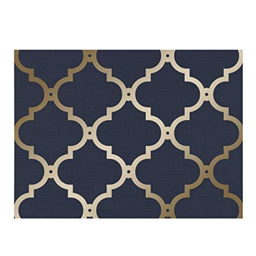 Alfombrilla seca de microfibra para secar platos, Marruecos Trellis azul marino, de secado rápido, para cocina, resistente al calor, antideslizante y apta para lavavajillas.