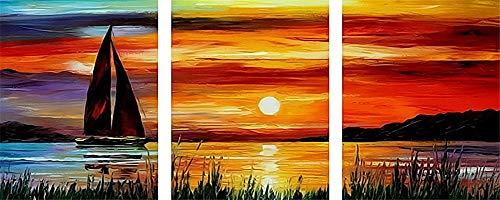 WOWDECOR DIY Malen nach Zahlen 3 teilig Bilder, Segelschiff Sonnenuntergang Meer 40x50cm x3, 3er Set triptychon XXL groß (Segelschiff, mit Rahmen)