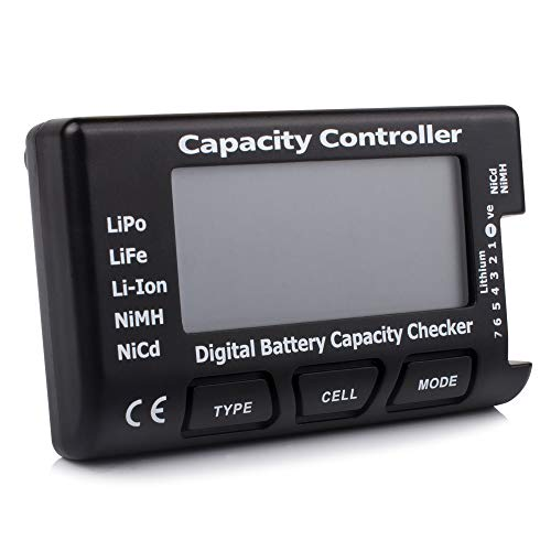 FCONEGY Digital Batterie Kapazität Checker für Lipo/Life/Li-Ion/NiMH/Nicd RC Akkus CellMeter-7 Controller Intelligent Battery Capacity Tester Batteriekapazität Spannung Batteriekapazitätstester