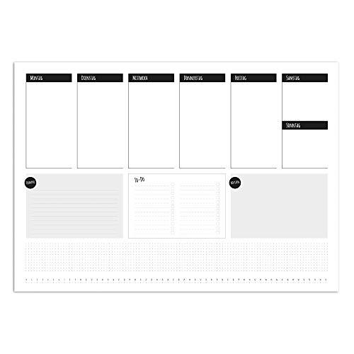 Schreibtisch-Unterlage To-do schlicht I dv_543 I DIN A2 40 Blatt I Wochenplan Wochenplaner Schreib-Unterlage Organizer zum Beschreiben neutral