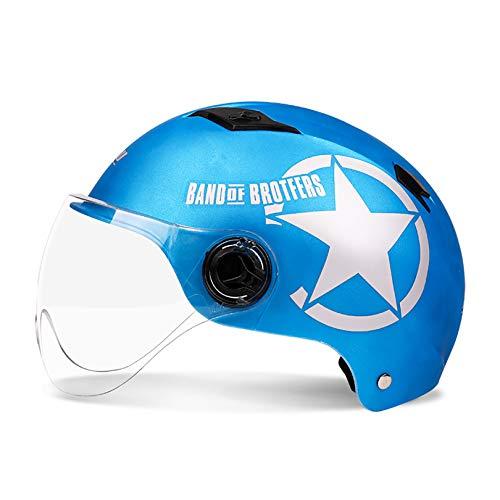 QHF Medio Casco de Motocicleta Aprobado por Dot con Gafas para Hombres y Mujeres, patineta ATV para Bicicleta