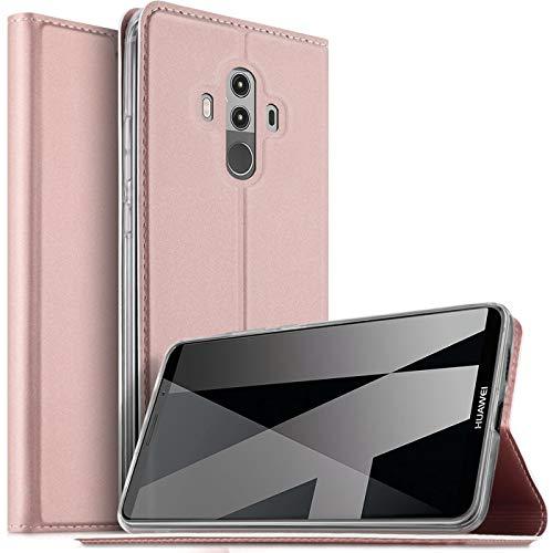 Verco Handyhülle für Mate 10 Pro, Premium Handy Flip Cover für Huawei Mate 10 Pro Hülle [integr. Magnet] Book Hülle PU Leder Tasche, Rosegold