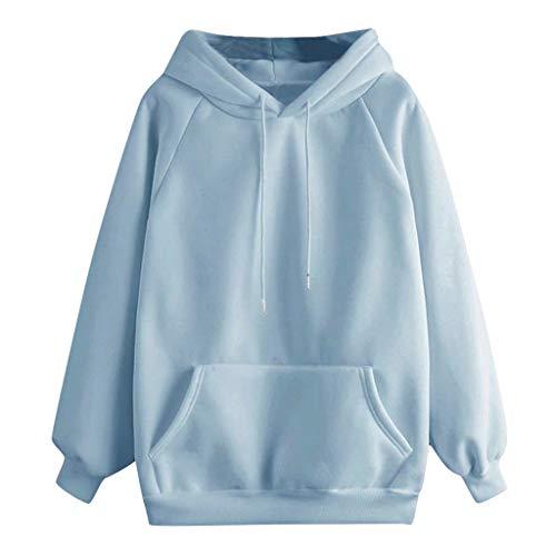 Xinantime Women Solid Hooded Sweatshirt Long Sleeve Hoodie Sweatshirt Hooded Pullover Tops Blouse with Pocket(Blue,L)