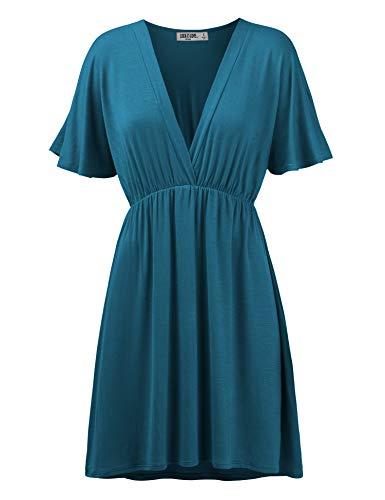 WDR1338 Womens Short Sleeve Kimono Style Dress Top XXL Teal (Flare Kimono)