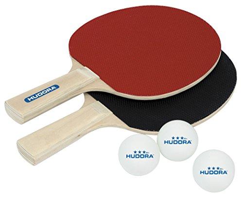 HUDORA Tischtennis-Set Match 2.0 - 2 Tischtennis-Schläger + 3 Tischtennis-Bälle - 76299