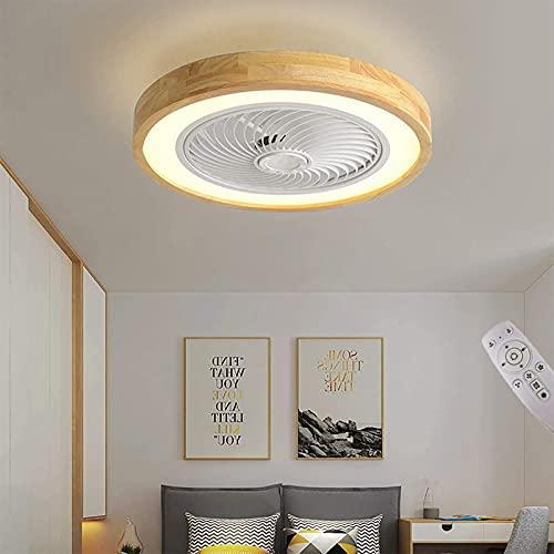 Ventilador de Techo de Madera de Dormitorio con Luz y Mando a Distancia, Ventilador de Techo LED Regulable con Lámpara Silenciosa, Moderna Lámpara de Techo con Ventilador Invisible, 3000K~6000K, 50cm