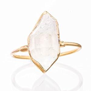 Raw Herkimer Diamond Stacklabe Ring, Yellow Gold, Boho Jewelry   Dainty, Minimalist