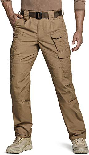 CQR Men's Tactical Pants, Water Repellent Ripstop Cargo Pants, Lightweight EDC Hiking Work Pants, Outdoor Apparel, Duratex Mag Pocket Coyote