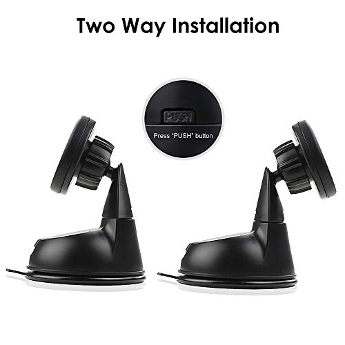 Tech Sense Lab Magback Universal 360 Degree Rotation Magnetic Mobile Holder for Car Dashboard Windscreen or Work Desk for All Smartphones and GPS Accessories with Two Metal Plates