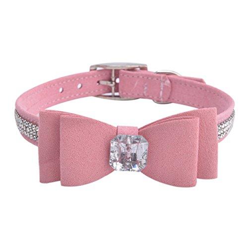 BINGPET BA2041 Diamond Bow Tie Crystal Rhinestone Pet Collar Designer Girl Boy Dog Collars-Pink