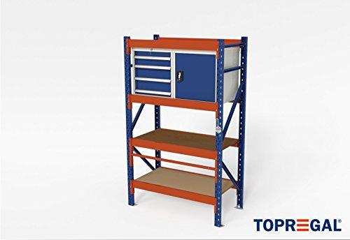 In hoogte verstelbare werkplaatstafel, werkbank, werktafel, bagagetafel, H200xB120xT60 met rolhouder incl. multiplexplaat, houten bodem en gereedschapkasten