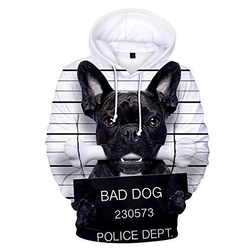 Hooded Casual 3D Printing Hoodies,Leuke Zwarte Franse Bulldog Wit Bone Mode Sweatshirts 3D Printing Hoodie Opvallende Truien met Kangoeroezakken