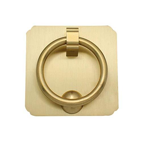 Schwere Messing Türklopfer, Vintage Poliertes Tragen-beständig Ring Dekorative Door Knocker Ideal für Möbel Holz Tür Holz Box-Messing-farbe-6x6cm(2x2Zoll)