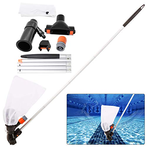 Swimming Pool Jet Vacuum Cleaner Underwater with 5 Section Pole, Portable Pool Mini Jet Vacuum Suction Head for Above Ground Pool Spas Hot Tub Ponds & Fountains