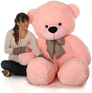HUG 'n' FEEL SOFT TOYS Long Soft Lovable hugable Cute Giant Life Size Teddy Bear (5 Feet, Pink)