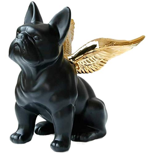 Animal Garden Ornaments Decoration Home Decor Ornament Gift Black French Bulldog Statue with Gold Wing Ceramic Modern Art Animal Figurine Handmade Decorative Collectible
