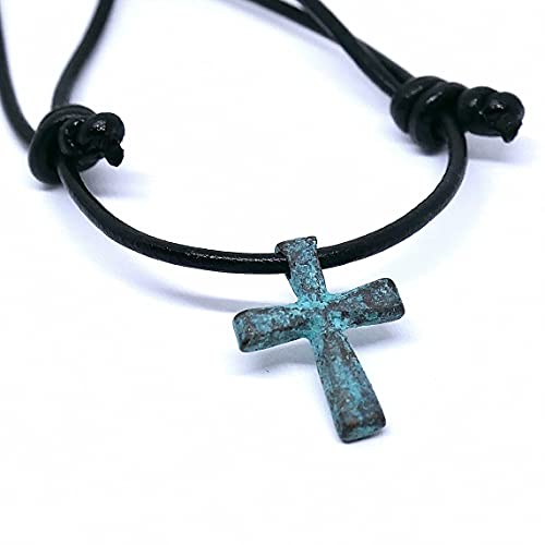 Cross Necklace, Cross Comfortable to Wear - Simple Classic Cross Necklace for Teens, Men and Women, 1 Inch Cross Paired with Adjustable Leather Cord (14-28) Inches