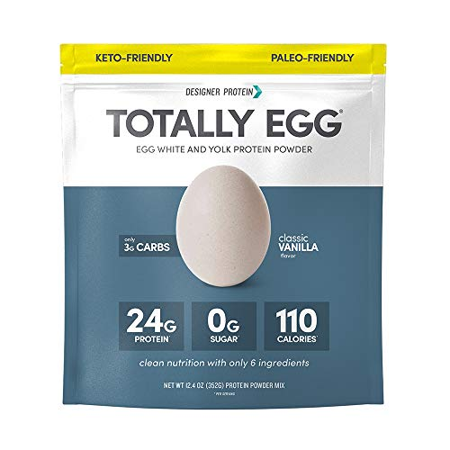 Designer Protein Totally Egg, Classic Vanilla, 12.4 Oz, Paleo and Keto friendly Egg White & Yolk Protein Powder
