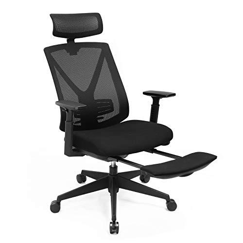 SONGMICS Bürostuhl mit Fußstütze, Ergonomischer Schreibtischstuhl mit Lordosenstütze, verstellbare Kopfstütze und Armstütze, Höhenverstellung und Wippfunktion, bis 150 kg Belastbar, schwarz OBN61BKV1