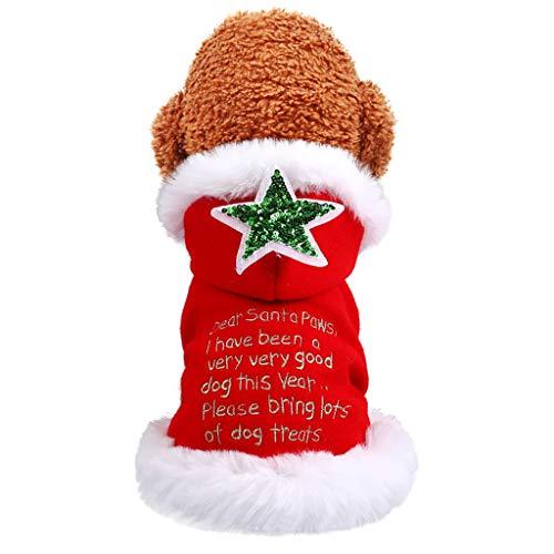 Coversolat Hundepullover Weihnachten Kleine Hunde Winter - Hund Pullover mit Brief Muster Welpen Hundemantel Hundekleidung