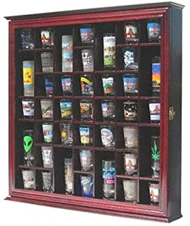 41 Shot Glass Display Case Holder Cabinet Wall Rack with Glass Door (Cherry Finish)