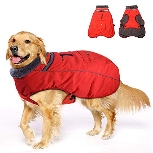 Winter Coats for Dogs with Bag,Thickened Reflective Windproof Waterproof Design Dog Cold Life Jacket Fleece Vest Apparel for Small Medium Large Pet