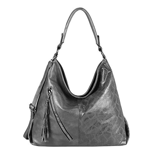 OBC Damen Tasche Shopper Hobo-Bag Python Muster Henkeltasche Schultertasche Umhängetasche Handtasche Crossover CrossBag Damentasche Reisetasche Beuteltasche (Grau 42x35x14 cm)