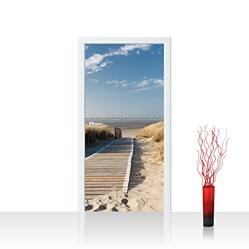 Vlies Türtapete 100x211 cm PREMIUM PLUS Tür Fototapete Türposter Türpanel Foto Tapete Bild - NORTH SEA DUNES - Strand Meer Nordsee Ostsee Beach Wasser Blau Himmel Sonne Sommer - no. 038