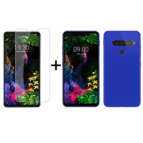 TBOC Pack: Funda de Gel TPU Azul + Protector Pantalla Vidrio Templado para LG G8s ThinQ G810EAW [6.21 Pulgadas]. Funda Silicona Ultrafina Flexible. Resistente Golpes Caídas Arañazos.