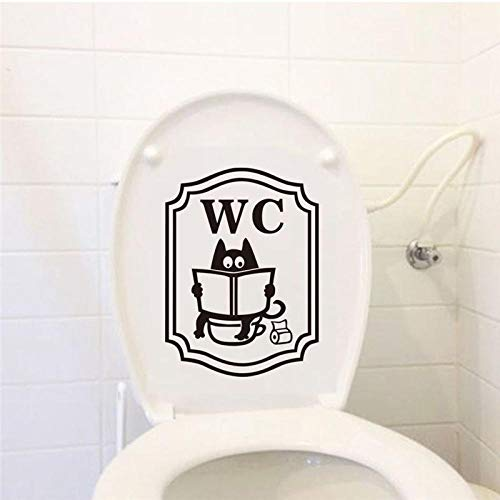 Wc-Sticker Cartoon Kat Toilet Stickers Kamer Decoratie Badkamer Deur Toiletbril Decoratieve Sticker Grappige Decor Poster Verwijderbare Wc Stickers