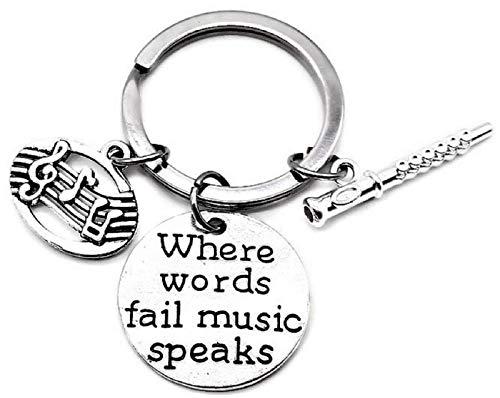 Flute Keychain, Music Keychain, Musical Note Keychain, Musical Instrument Keychain, Music Gift, Music Key Ring, Flute Key Ring