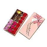 Románticos regalos 12 piezas Jabón rosa y hoja de oro de 24 k Flores de pétalos de rosa con caja de regalo (Rosa)