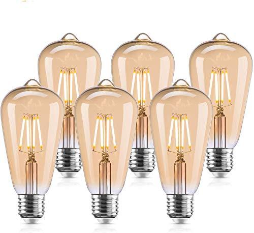 GOLDFOX Vintage E27 Edison Glühbirnen, 4 W (entspricht 40 W), LED Filament Glühbirne, Retro Antik Stil 2800 K Warmweiß LED Edison Birne, Gold Tint (6 Stück)