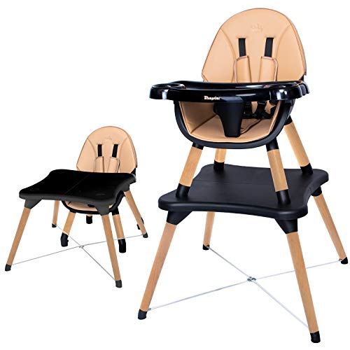 WINNPRIME 5 in 1 Baby High Chair, Suitable for Infants/Toddlers/Children, Baby Wooden Dining Chair with 5-Point Safety Belt, Removable 5-Position Tray and PU Cushion (Brown)