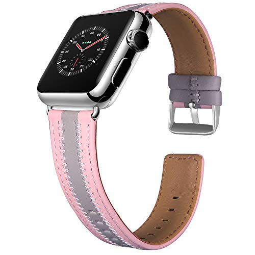 Jobese Compatible with Apple Watch Band 42mm/44mm 38mm/40mm, Soft Classic Genuine Leather Straps Compatible with Apple Watch Series 5 4 3 2 1, Sports&Edition Accessories Wristbands