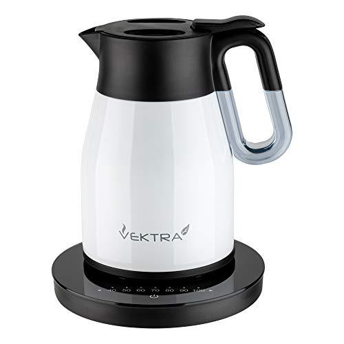 Vektra VEK-1504 Vakuumisolierter Wasserkocher mit Temperatureinstellung 1,5 L Edelstahl Doppelwandig EU-Stecker, Thermoskanne 2in1 mit Druckknopf BPA-Frei - Perlweiß