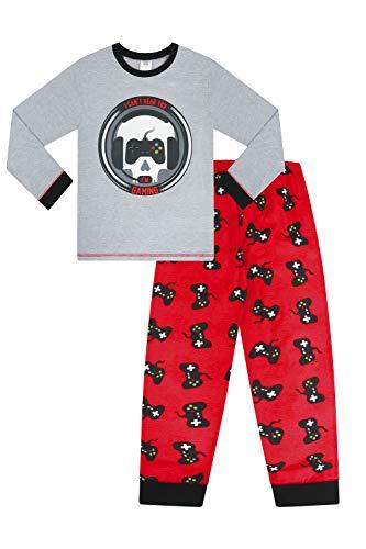 Pijama largo para niño de 9 a 15 años con calavera y texto «I Can't Hear You I'm Gaming», color rojo y gris Gris gris 10-11 Años
