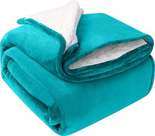 Utopia Bedding Sherpa Bettdecke, Queen-Size-Größe, türkis, 480 g/m², Plüschdecke, Fleece, wendbar, Decke für Bett & Couch