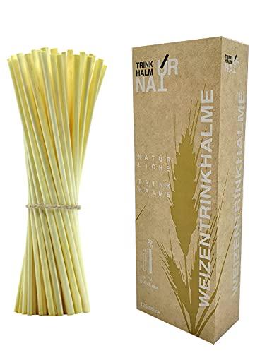 Cannucce di grano, naturali, vegetali, compostabili, senza plastica (125, L 20 cm/Ø 4-6 mm)