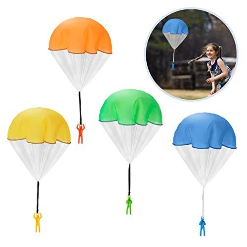 Kesote 6X Fallschirm Spielzeug Fallschirmspringer Kinder Hand werfen Fallschirm Kinderdrachen Geschenk (4 Farbe Zufällig)