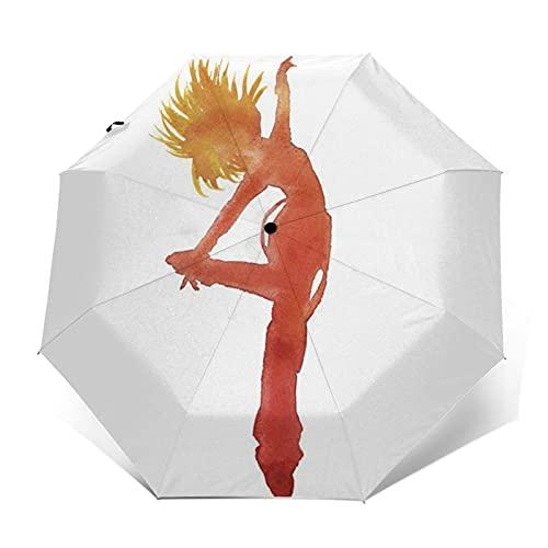Paraguas Plegable Automático Impermeable Niña, Baile, bailarín, Cadera, Paraguas De Viaje Compacto Prueba De Viento, Folding Umbrella, Dosel Reforzado, Mango Ergonómico