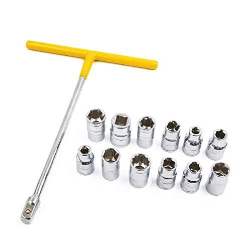 XMHF - Juego de llaves inglesas con mango en forma de T para vehículos con juego de herramientas de 8 a 19 mm 1/2T