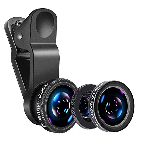 Cell Phone Camera Lens - Yarrashop 3 in 1 HD Clip-On Lens Kit for 180 Degree Fisheye Lens + 0.65X Wide Angle Lens + 10X Macro Lens for iPhone Xs Max/XR Samsung Huawei LG and Other Smartphone