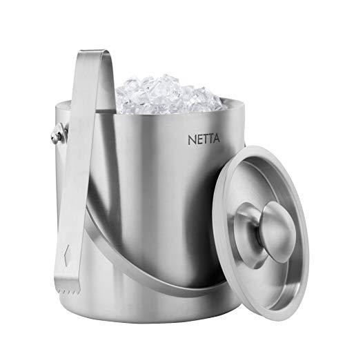 Netta - Secchiello per ghiaccio a doppia parete, in acciaio INOX, con pinze e coperchio