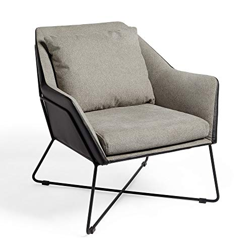 VonHaus Armchair – Grey Accent Chair, Modern Contemporary Style Comfortable Reading Seat with Removable Cushion, Faux Leather Exterior & Black Metal Frame for Minimalist Bedroom, Lounge & Living Room