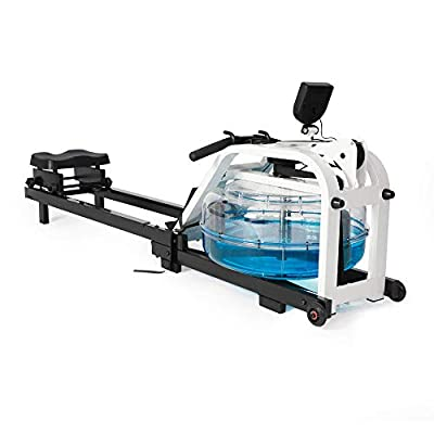 Koreyosh Water Rowing Machine Indoor Water Rower Adjustable Resistance with LCD Monitor Home Gym Equipment for Whole Body Exercise Cardio Training,Steel